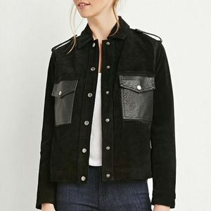 Black genuine suede jacket Medium forever 21 buckl